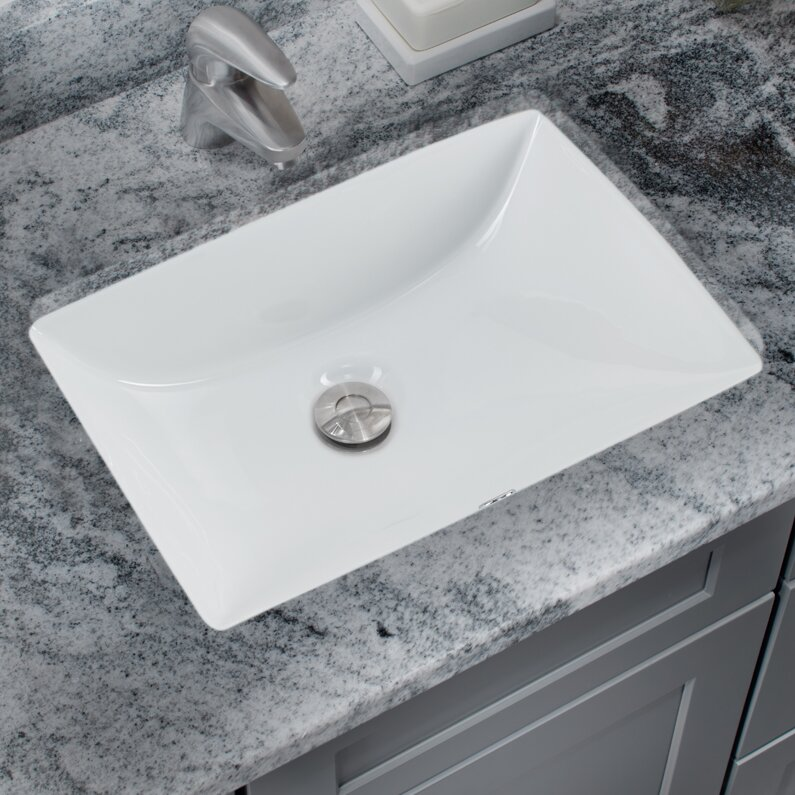 Superieur Glazed Vitreous China Rectangular Undermount Bathroom Sink With Overflow