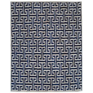 Read Reviews Natural Hide Leather Hand-Woven Navy/White Area Rug By Exquisite Rugs