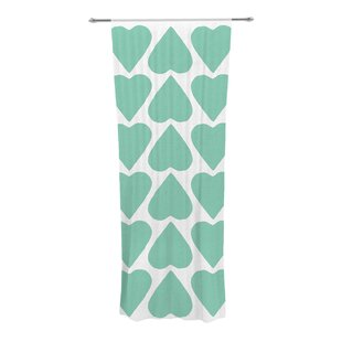 Up And Down Hearts Mint Geometric Semi Sheer Curtain Panels Set Of 2