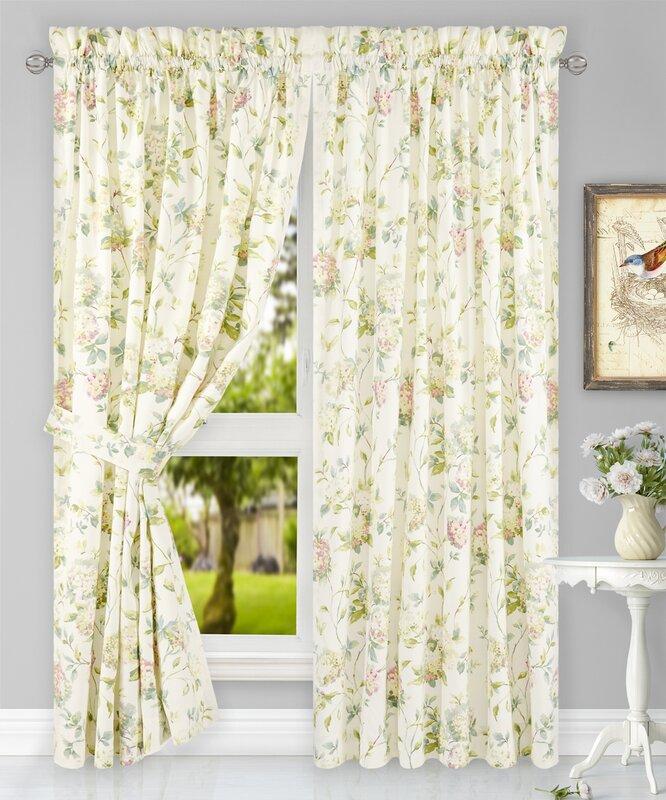 Kyra Hydrangea Tailored Nature / Floral Semi Sheer Rod Pocket Curtain Panels