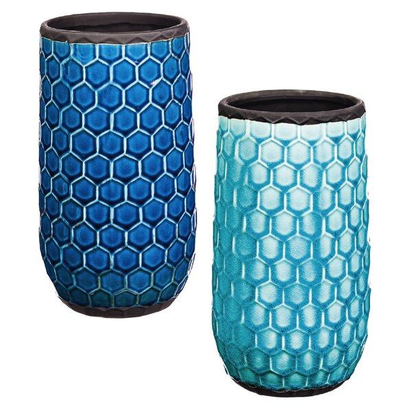 Evergreen Enterprises Inc Xuan Tall Honeycomb Ceramic Pot