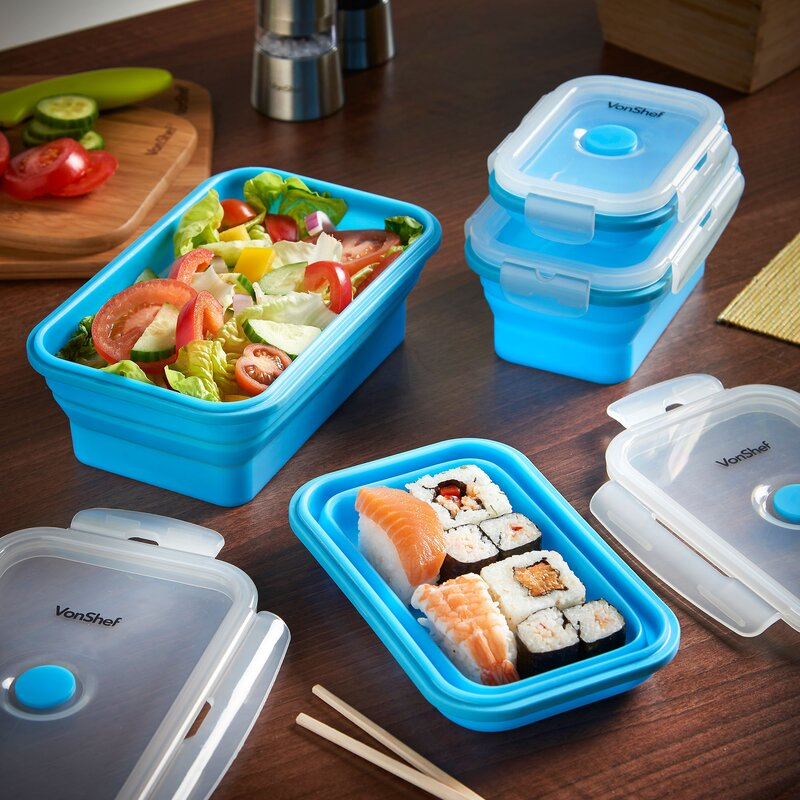 Silicone Collapsible 4 Container Food Storage Set & VonShef Silicone Collapsible 4 Container Food Storage Set | Wayfair