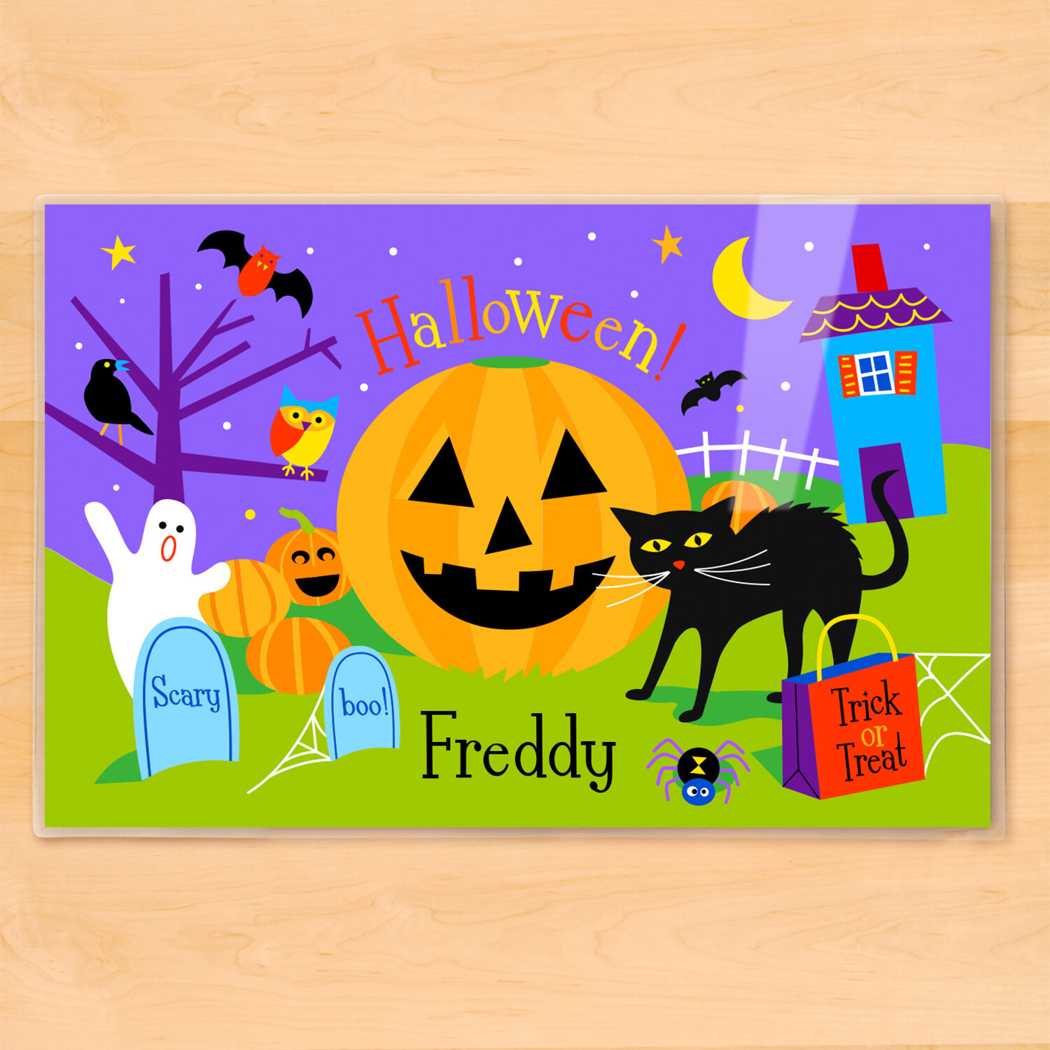Olive Kids Halloween Pumpkin Personalized Placemat | Wayfair