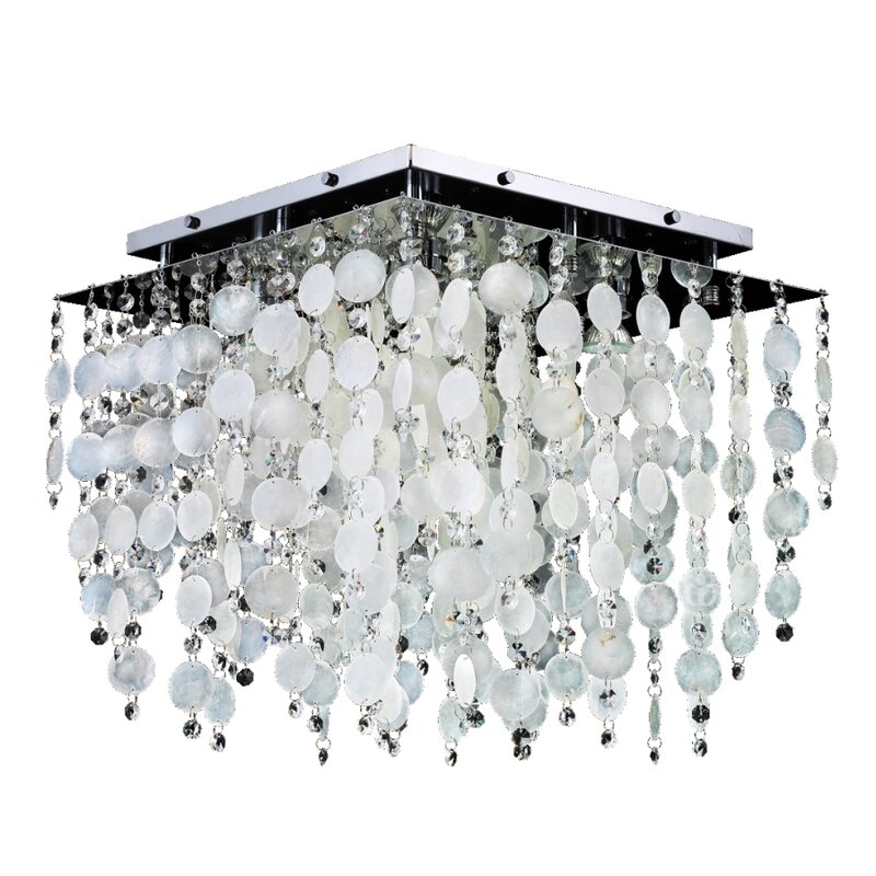 Cityscape Capiz Shell And Crystal 5 Light Flush Mount