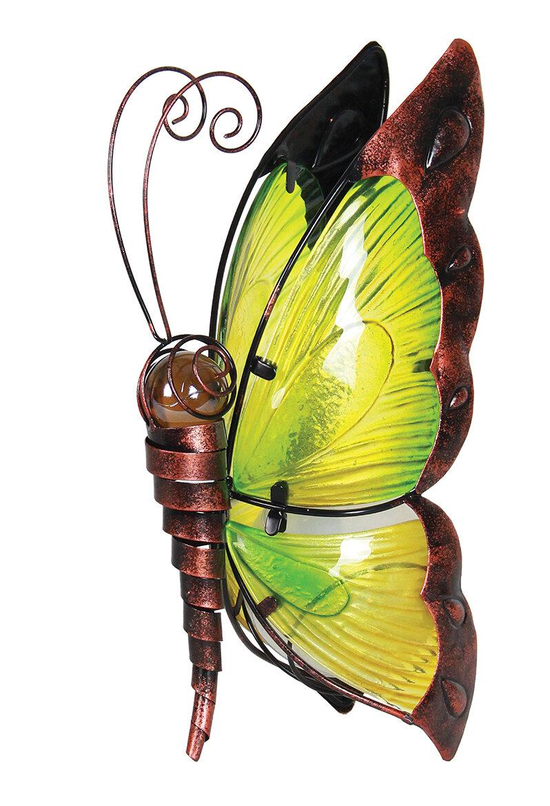 Exhart Solar Glass Butterfly Garden Statue & Reviews | Wayfair