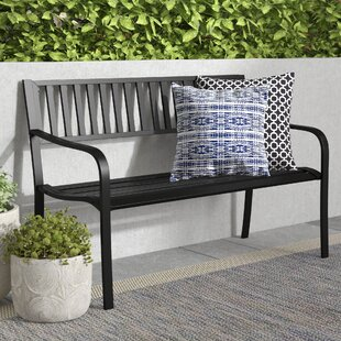 Alvah Slatted Stainless Steel Garden Bench