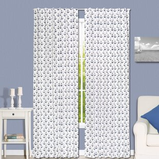 Anchor Nautical Blackout Rod Pocket Curtain Panels Set Of 2