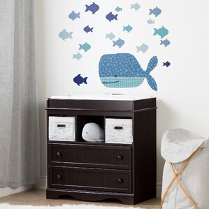 Savannah Changing Table With Little Whale Wall Decal