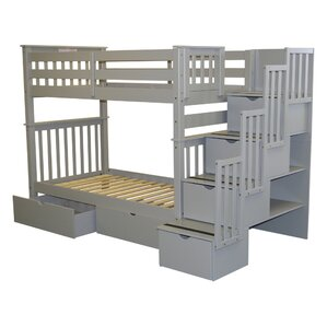 Stairway Tall Twin over Twin Bunk Bed with Extra Storage by Bedz King