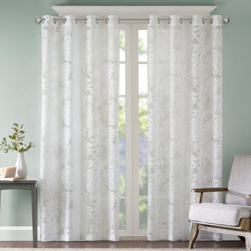 Gouverneur Nature Floral Sheer Grommet Single Curtain