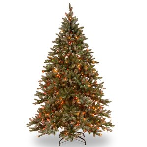 Snowy Concolor 9u0027 Green/Silver Fir Artificial Christmas Tree With 950  Multicolor Lights And