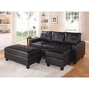 Leather Sofa With Ottoman | Wayfair