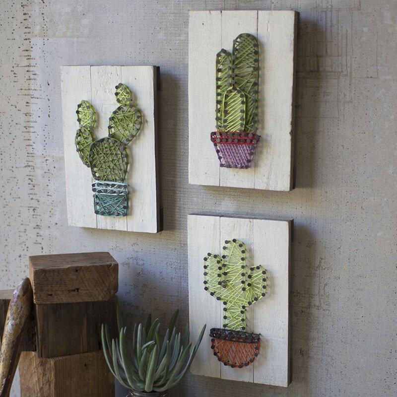 Bungalow Rose 3 Piece Cactus String Art On Wooden Plaques Wall Décor Set Wayfair