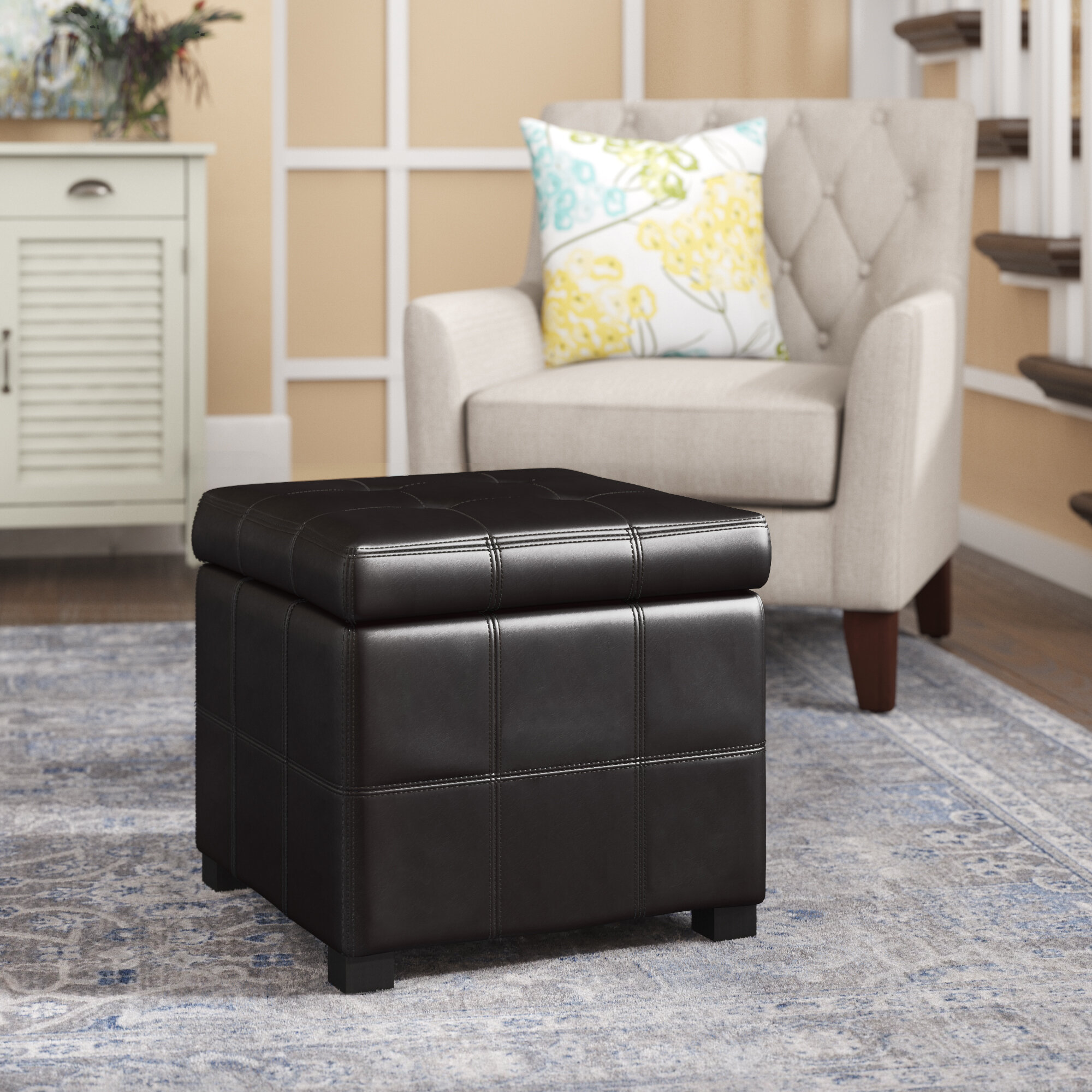 Three posts leather storage ottoman reviews wayfair