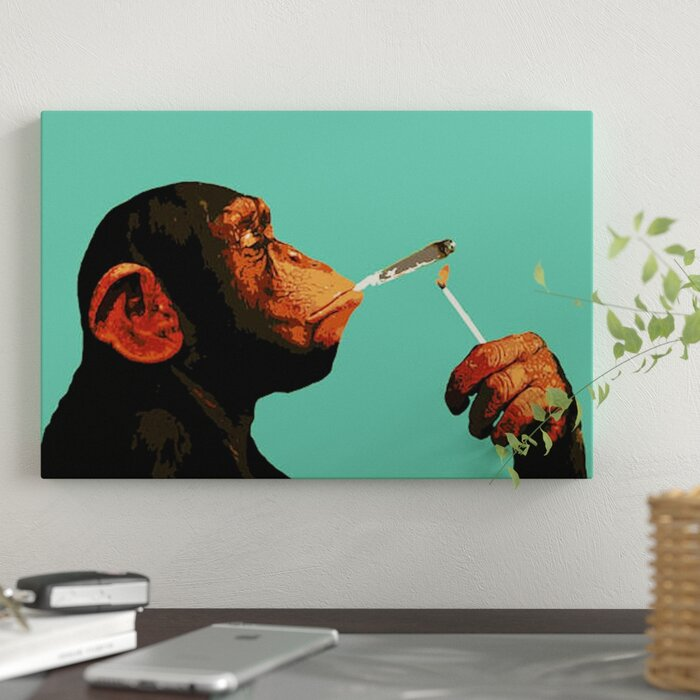 87c9e61bf2953e East Urban Home 'Monkey Joint Time' Graphic Art Print on Canvas | Wayfair