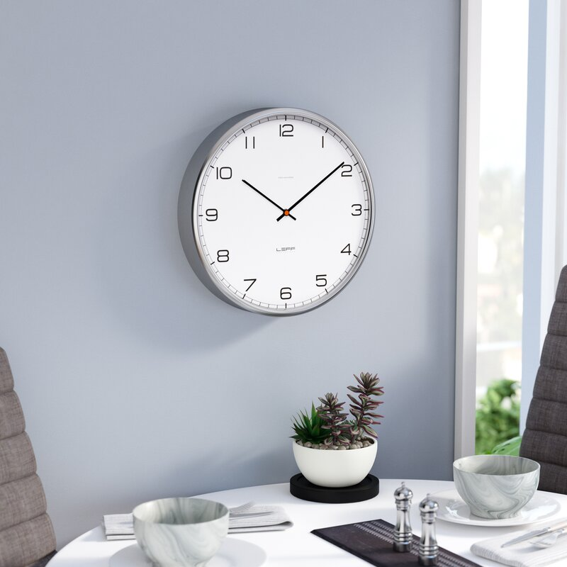 leff amsterdam one35 arabic stainless steel wall clock reviews wayfair. Black Bedroom Furniture Sets. Home Design Ideas