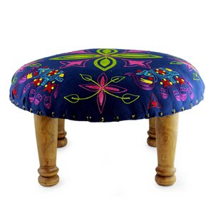 Pace Octavius Elephant Embroidered Blooms Ottoman by Bloomsbury Market