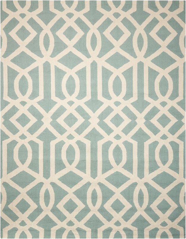 Alcott Hill Addingrove Hand-Knotted Wool Aqua/Ivory Area Rug, Size: Rectangle 76 x 96