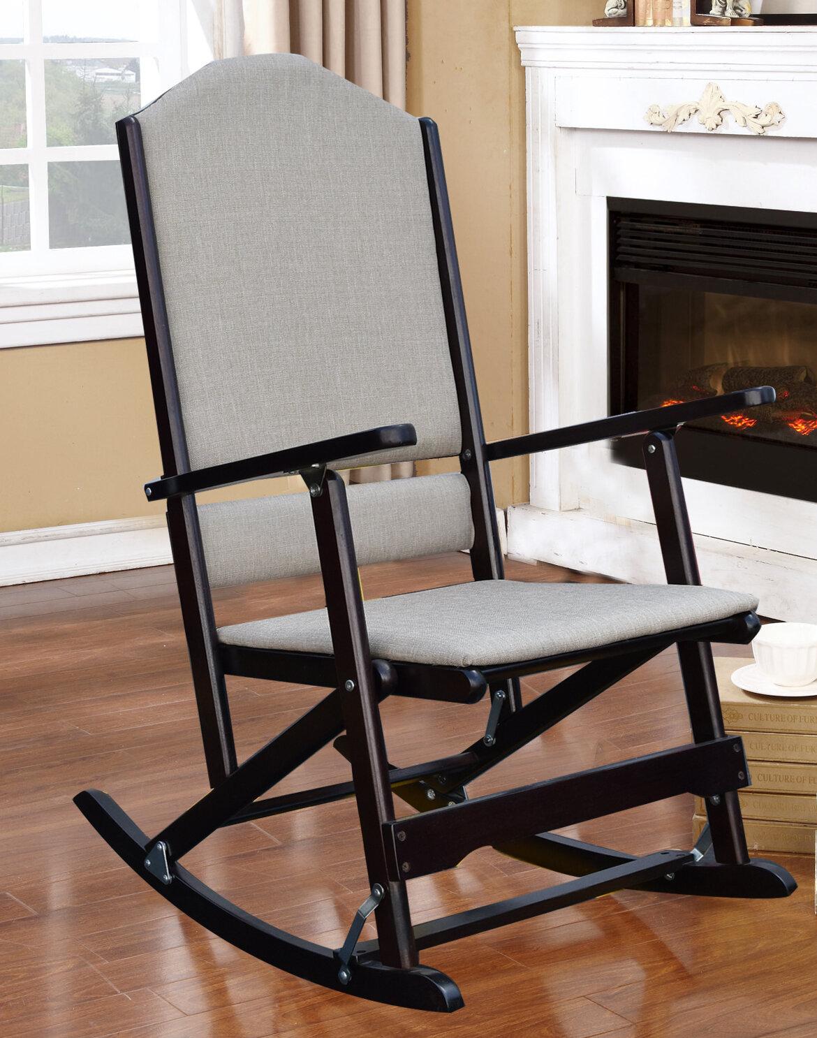 Famous Red Barrel Studio Cinthia Solid Wood Folding Rocking Chair  XU34