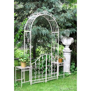 Iron Garden Gate With Plant Stand