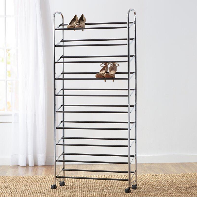wayfair basics rolling 10 tier 50 pair shoe rack