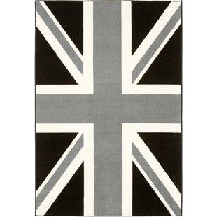 Union Jack Nostalgic Pion Black White Rug