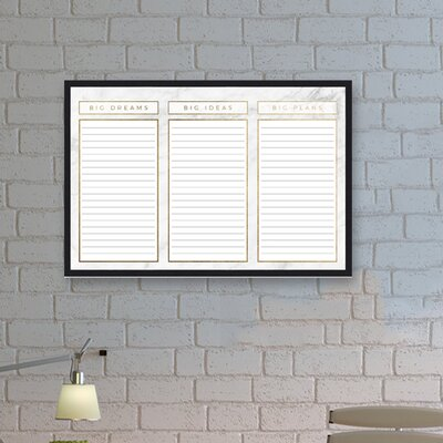 big ideas dream and plans wall mounted dry erase board