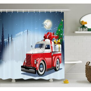 Christmas American Truck Shower Curtain