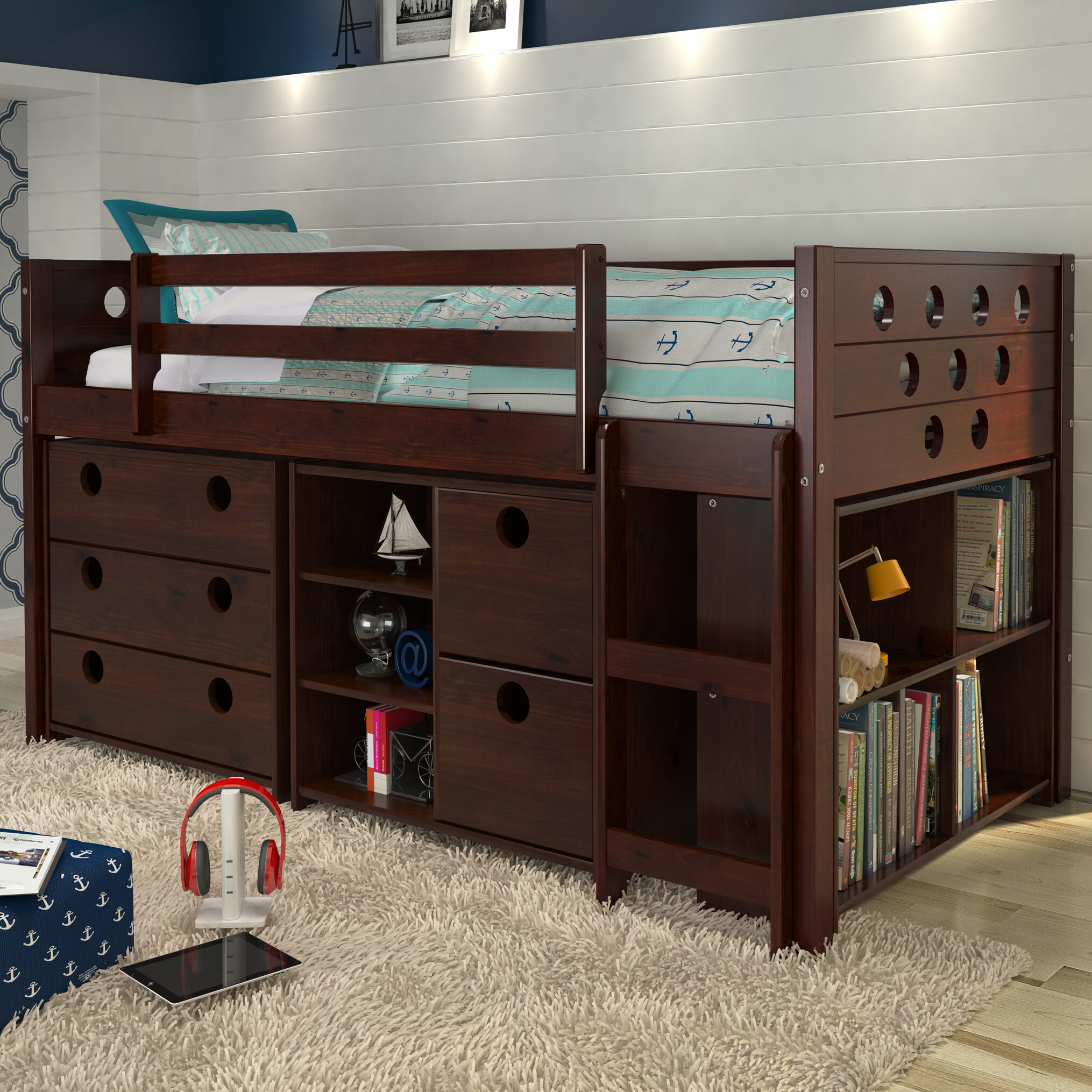 Mack U0026 Milo Abey Circles Twin Loft Bed With Storage And Bookcase U0026 Reviews  | Wayfair