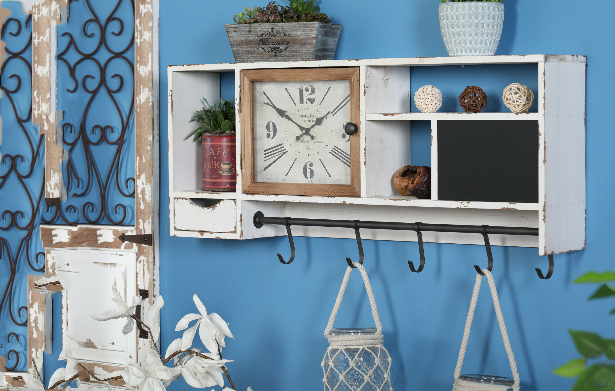 Giustino Rustic Wall Clock With Multi Purpose Shelves And Hooks