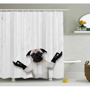 Fritz Wooden Funny Bulldog Shower Curtain