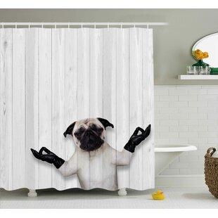 fritz wooden funny bulldog shower curtain - Fun Shower Curtains