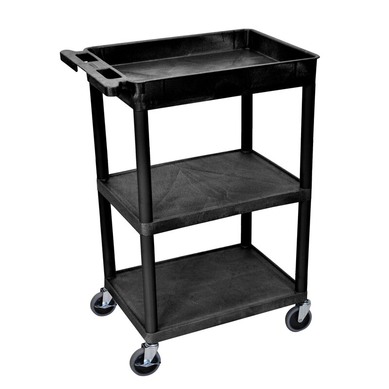 Offex Tub Top and Flat Middle-Bottom Shelf Utility Cart | Wayfair