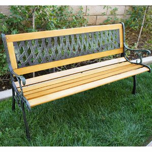 Boswell Outdoor Patio Cast Iron Hardwood Garden Bench