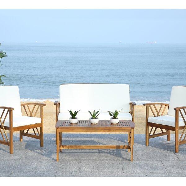 Safavieh Fontana 4 Piece Seating Group with Cushions ... on Safavieh Fontana Patio Set id=62688