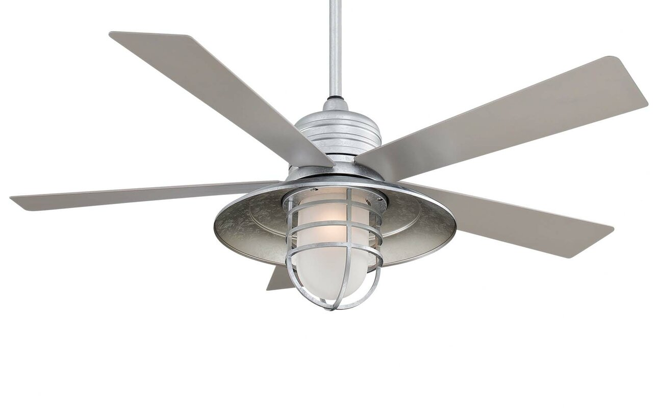 "minka aire 54"" rainman 5 blade outdoor led ceiling fan & reviews"