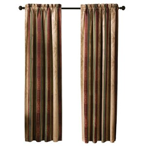 Roseline Striped Semi-Sheer Rod Pocket Curtain Panels (Set of 2)
