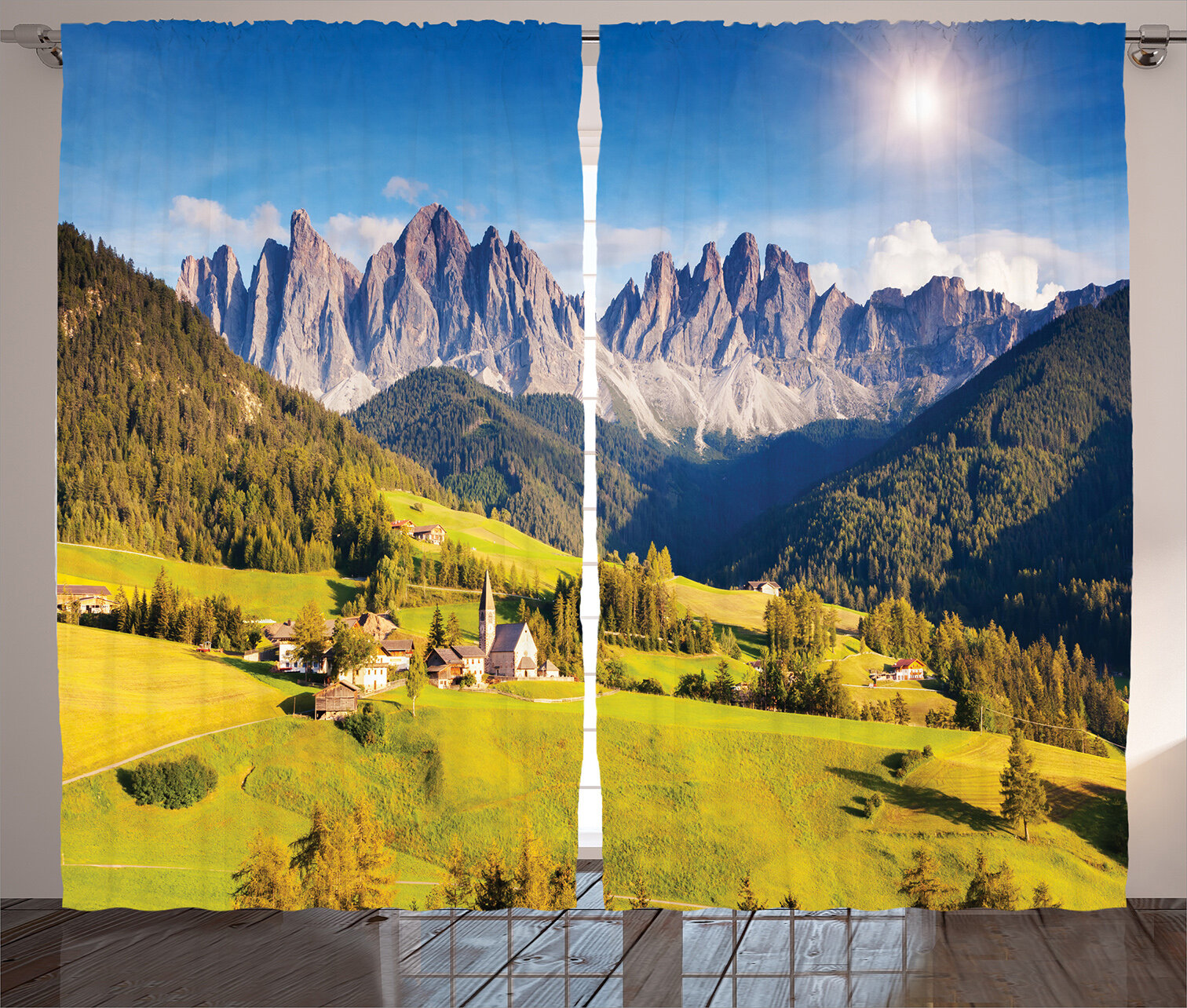 dd6f4b8831b East Urban Home Scenery Village View with Lined Mountain Peaks and Meadow  Northern European Alps Art Graphic Print   Text Semi-Sheer Rod Pocket  Curtain ...