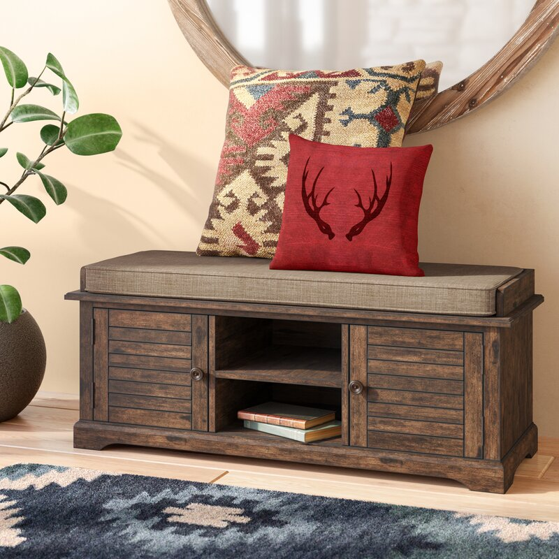 Camille Canton Wood Entryway Storage Bench Loon