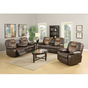 Gladding Bonded Leather Recliner Loveseat by..