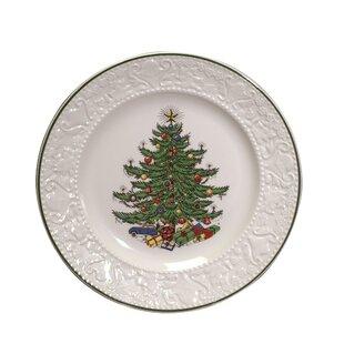 original christmas tree dickens embossed 11 dinner plate