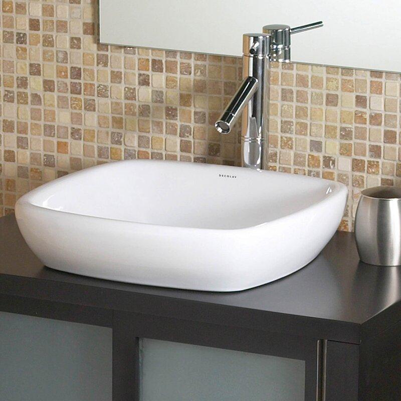Bathroom Sinks Square decolav classically redefined semi-recessed ceramic square vessel
