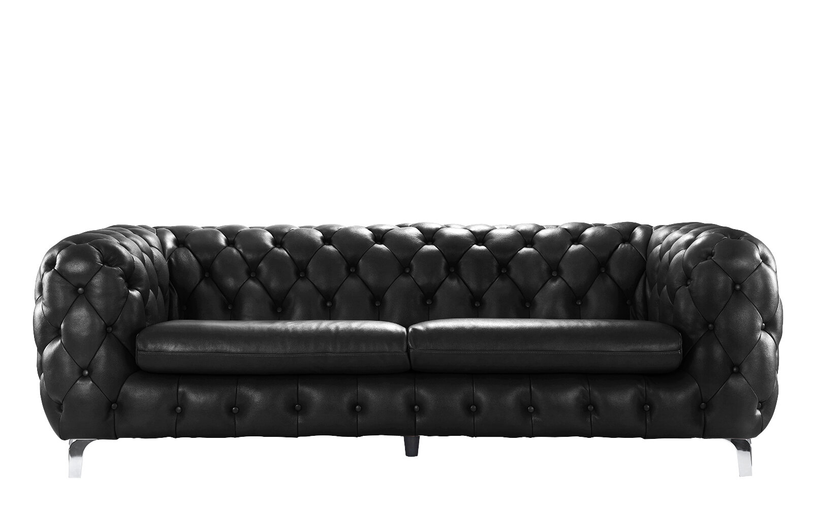 17 Stories Yuliya Leather Chesterfield Sofa With Built In Shelves Wayfair