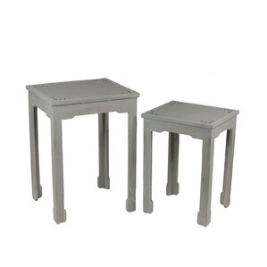 2 Piece Shagreen End Table Set