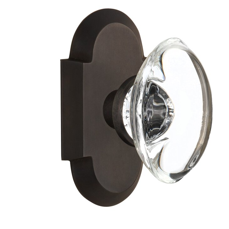 Oval Clear Crystal Glass Passage Door Knob With Cottage Plate