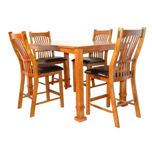 Lagunitas 5 Piece Counter Height Solid Wood Dining Set