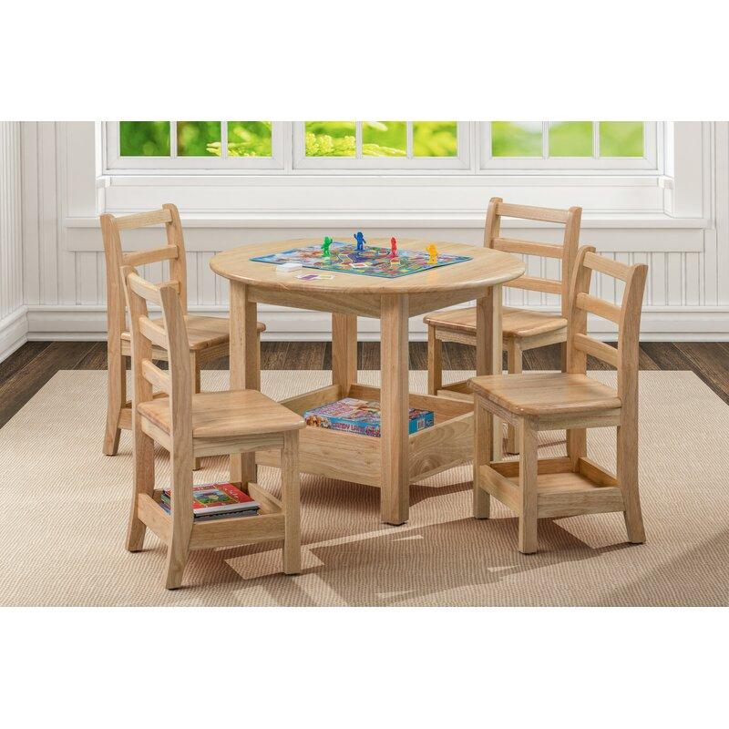 Ecr4kids Sit N Stash Kids 5 Piece Writing Table And Chair Set Wayfair
