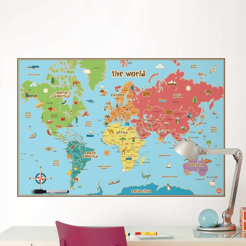 Viv rae lucas world map wall decal reviews wayfair lucas world map wall decal gumiabroncs Gallery