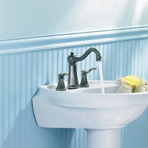 Vestige Double Handle Widespread High Arc Bathroom Faucet with Optional Pop-Up Drain