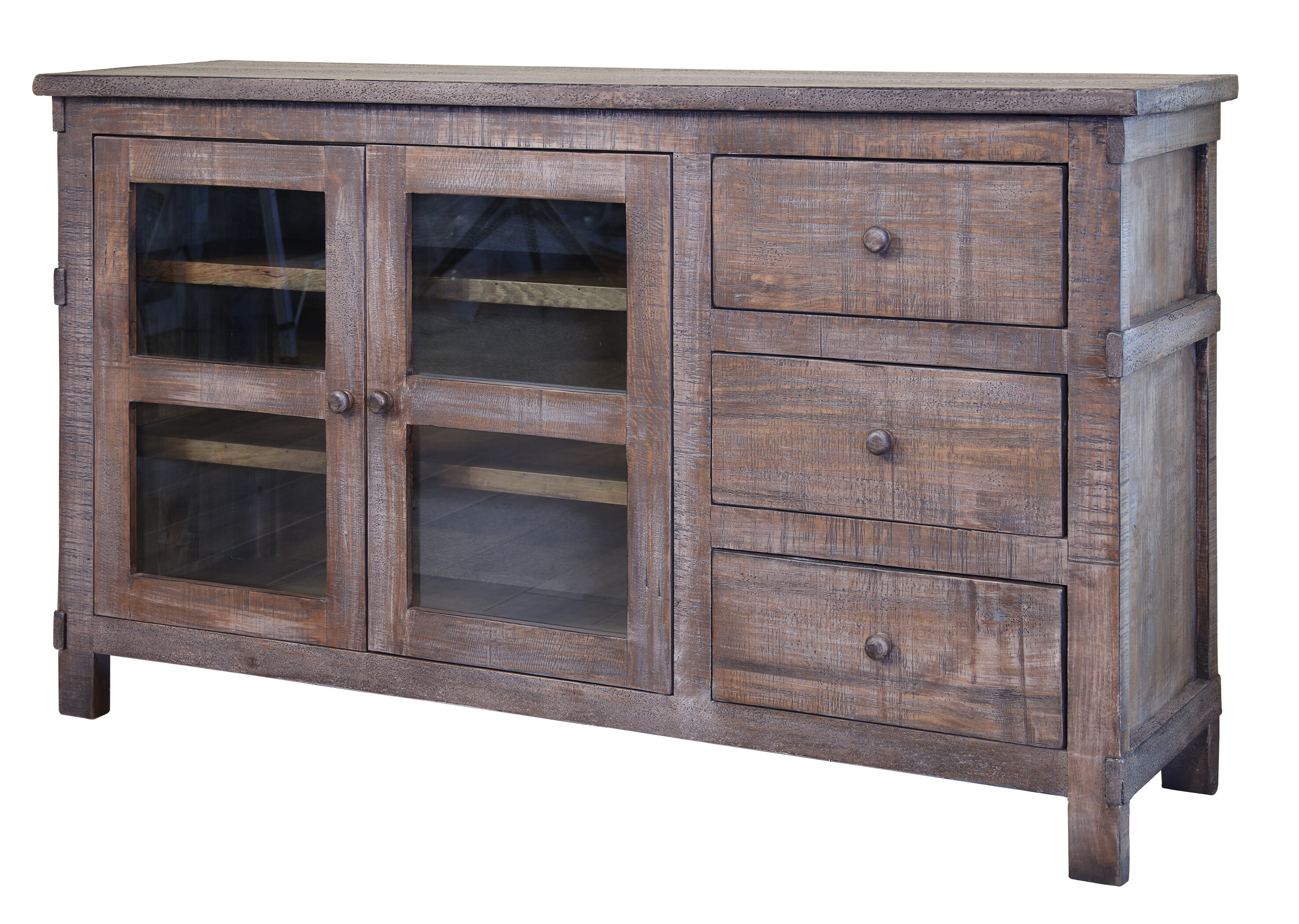 """60/""""  Rustic TV Stand Western Solid Wood Rustic Console Glass Doors Cabin Lodge"""
